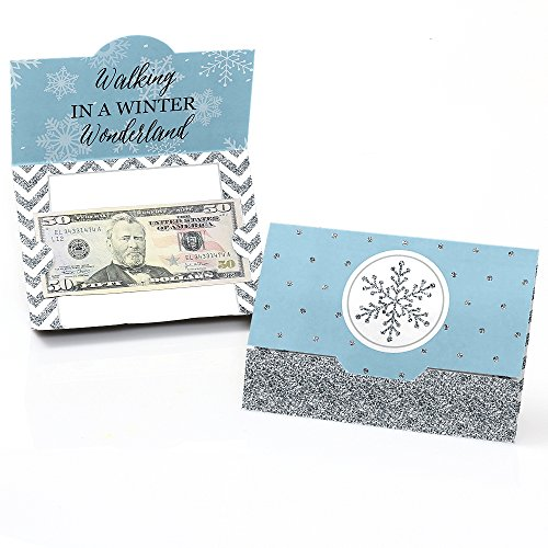 Wonderland Gift Winter Holiday (Big Dot of Happiness Winter Wonderland - Snowflake Holiday Party & Winter Wedding Money and Gift Card Holders - Set of 8)