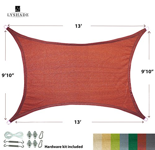 LyShade 13 x 9 10 Rectangle Sun Shade Sail Canopy with Stainless Steel Hardware Kit Terracotta – UV Block for Patio and Outdoor