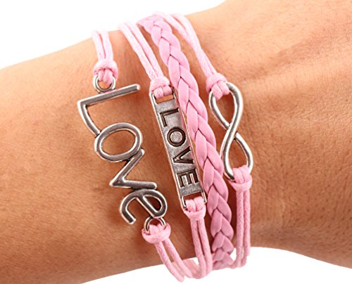 Edenkiss Hand Made Fashion Charm Suede Wrap Bracelet (Pink Love) Suede Fashion Bracelet