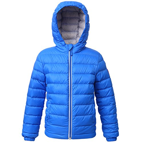 Rokka&Rolla Boys' Ultra Lightweight Hooded Packable Puffer Down Jacket Electric Blue