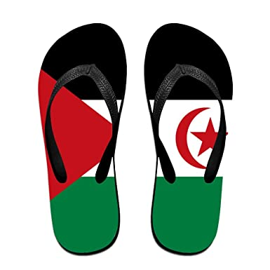 fb24b4013d9a6 Amazon.com  Flag Of Western Sahara Cool Flip Flops For Children Adults Men  And Women Beach Sandals Pool Party Slippers  Clothing