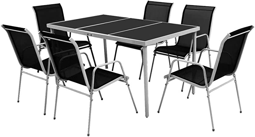 Tidyard Ensemble Table et Chaise 7 pcs   Mobilier de Salle à
