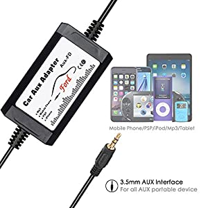APPS2Car Car Stereo AUX Adapter, 3.5mm Auxiliary Input Cable Cord for Ford Edge Expedition Explorer F150 F250 F350 F550 Focus Freestyle Mustang Sport Trac, Lincoln MKX Navigator Zephyr, Mercury Milan
