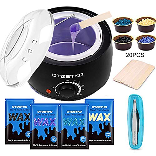 DTOETKD Waxing Kit Home Wax Warmer Hair Removal Wax Kit with 4 Hard Wax Beans 20 Wax Applicator Sticks 4 Small Bowls Eyebrow Tweezers for Women Men Full Body Legs Face Eyebrows Bikini