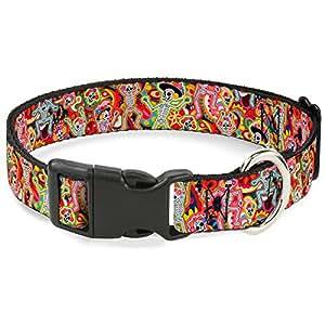 "Buckle Down Plastic Clip Collar - Dancing Catrinas Collage Multi Color - 1/2"" Wide - Fits 8-12"" Neck - Medium"