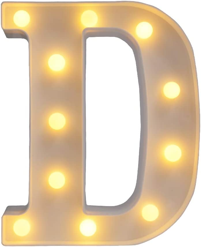 CJWPOWER Room Decor, LED Letter Signs, Cute Home Decor, Light Up Letter Signs for Wall, Bedroom, Party Decorations, Wedding, Birthday. Night Lights and More (D)