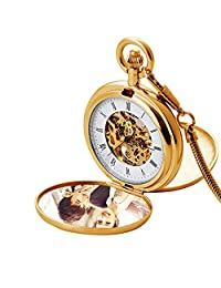 Mechanical Pocket Watches for Men Pocket Watch with Chain Vintage Roman Numerals,Gold2