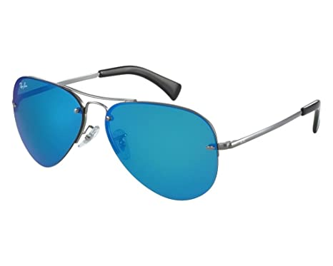 eb0e37abc0619 Image Unavailable. Image not available for. Color  Ray Ban RB3449 004 55 59  Gunmetal Blue Mirror Aviator Sunglasses ...