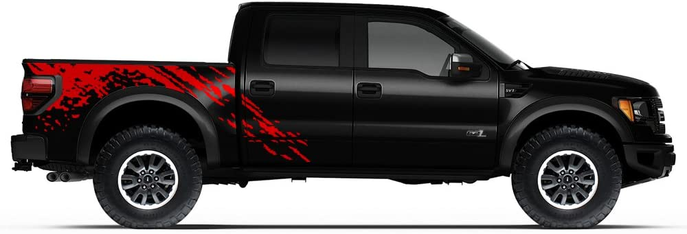 Dark Red Factory Crafts Splash Side Graphics Kit 3M Vinyl Decal Wrap Compatible with Ford Raptor 2010-2014