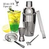 Cocktail Shakers - Professional Bartenders Kit with 5 pieces kits, 25 oz Cocktail Martini Shaker Bar Set & Measure Jigger & Ice Strainer & Clip & Spoon - Cocktail Strainer