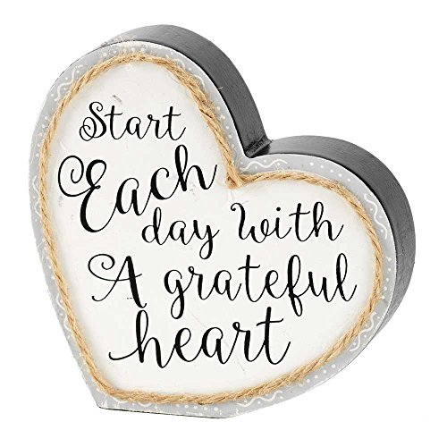 (Start Each Day Grateful Heart Twine String Gray 4.5 x 5 Heart Shaped Wood Table Top Sign)