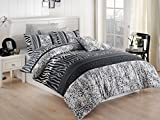 LaModaHome 3 Pcs Luxury Soft Colored Full and Double Bed Size Bedroom Bedding 65% Cotton Quilt Duvet Cover Set Zebra Leopard Pattern Wild Animal Spot Africa Black And White