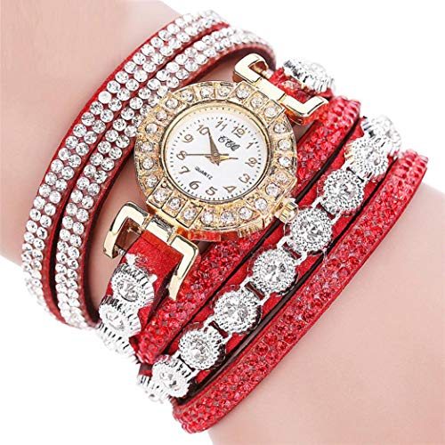 Rhinestone Bracelet Watch,Hattfart Clearance Analog Fashion Lady Watches Female watches Casual Wrist (Red)