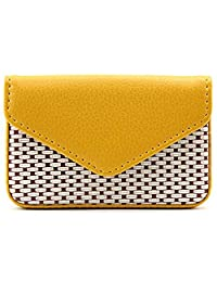 Business Card Holder PU Leather Credit Card Case with Magnetic Shut,Yellow