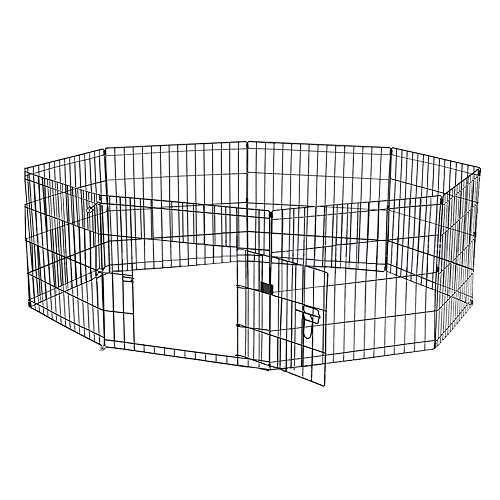 (Pet Playpen, 24 X 24 Inches E-coat Iron Wire Folding Exercise Yard Fence, Outdoor Kennel for Rabbit Dog with 8 Panel One Door)