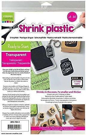 Vaessen Creative Plástico Mágico, Transparente, 25 Hojas, Tamaño 21 x 30 cm, Divertidos Proyectos de Arte y Manualidades para Todas Las Edades