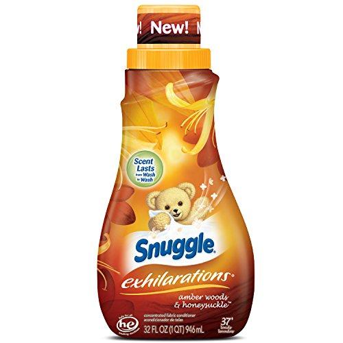Snuggle Exhilarations Liquid Fabric Softener, Amber Woods & Honeysuckle, 32 Fluid Ounces, 37 Loads