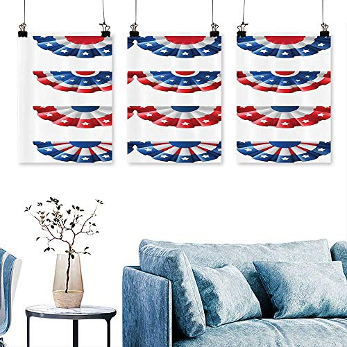 SCOCICI1588 3-Piece Modern Flag Round Bunting Electi Ornament itic Uni Ribb Event Artwork for Wall Decor Triptych 24 INCH X 40 INCH X 3PCS