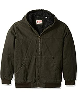 Men's Big Cotton Canvas Workwear Hoody Bomber with Full Sherpa Lining