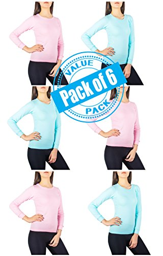 Sexy Basics Womens 6 Pack Women's Long Sleeve Fleece Thermal Top (M- 10-12, 3 BABYBLUE + 3 PINK)