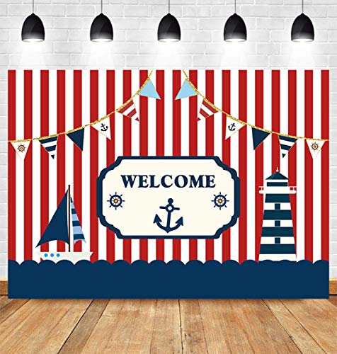 - Fanghui 7x5ft Nautical Theme Party Photography Backdrop Red White Striped Marine Voyage Boat Background Decoration Kids Boy Birthday Party Navigation Lighthouse Banner Supplies Photobooth Props Decor