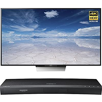 Sony 75-Inch Class 4K HDR Ultra HD TV (XBR-75X850D) with Samsung 3D Wi-Fi 4K Ultra HD Blu-ray Disc Player
