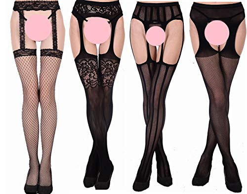Style Suspender Pantyhose (MsAnya Womens Sexy Fishnet Garter Stockings Suspender Sheer Pantyhose Patterned Thigh High Tights Black 4 Pack (Garter 4 simple))