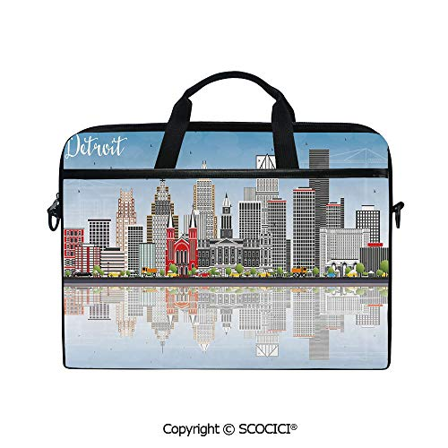 Printed Laptop Bags Notebook Bag Covers Cases Detroit Skyline with Skyscrapers Modern Buildings Clear Sky Water Reflection Decorative with Adjustable Strip and Zipper Closure