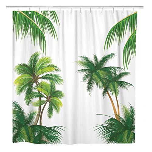 Palm Desert Shower Curtain - ArtSocket Shower Curtain Green Trees Pattern Coconut Palm Tree Tropical Nature Leaf Home Bathroom Decor Polyester Fabric Waterproof 72 x 78 Inches Set with Hooks