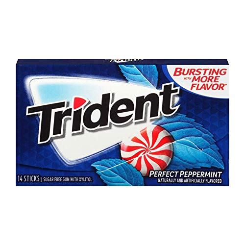 Trident Sugar Free Xylitol Gum Perfect Peppermint 2 Box Deal (14-Piece, 24-Pack) ()