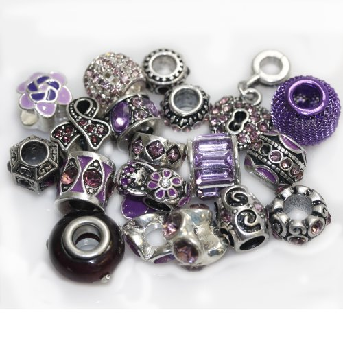 Ten (10) of Assorted Shades of Rhinestone Beads Charms Spacers for Bracelets Fits Pandora, Biagi, Troll, Chamilla and Many Others (Purple Amethyst)