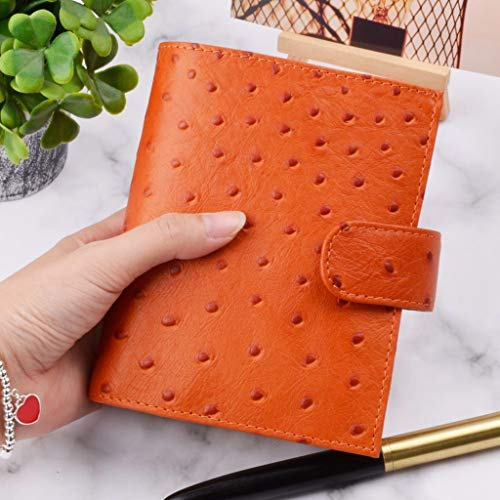 MINILZY Notebook Leather Rings Notebook A7 Size Brass Binder Mini Agenda Organizer Diary Journal Sketchbook Planner Big Pocket,Ostrich Orange