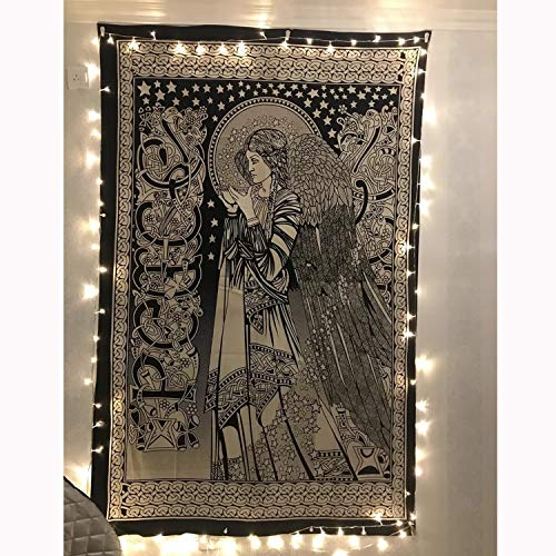 "Simpkeely Black and White Angel Tapestry,Motif Wall Hanging India Art Print Mandala Hippie Tapestries for Home Décor 59.1"" x 80"" (150 x 200cm)"