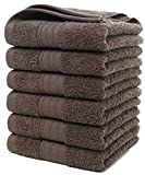 GraceAier Soft Cotton Bath Towels set (4 Pack, 24 x 48 inches) - Lightweight High Absorbency Multipurpose Quick Drying Pool Gym White (Hand Towels-Grey)
