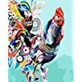 Wowdecor Paint By Numbers Kits For Adults Kids Diy Number Painting Rooster Chicken Colorful Animals 40 X 50 Cm New Stamped Canvas Cock No Frame