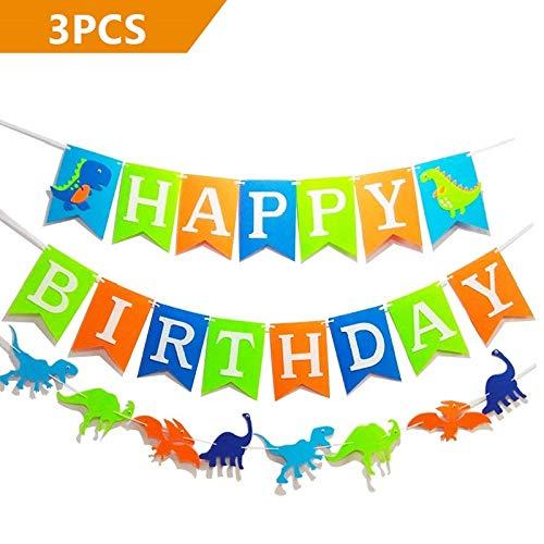 - efoot 3PCS Dinosaur Happy Birthday Decorations Banner,Colorful Felt Birthday Banner Flag for Party Decorations Favors, Photo Props,Birthday Party Supplies