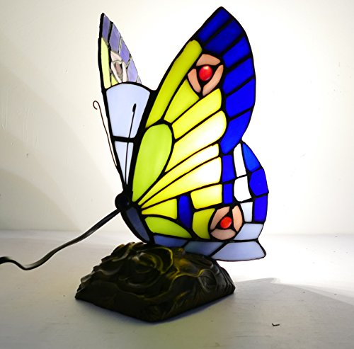 - LDGJ Butterfly Tiffany Style Stained Glass Accent Table Lamp (Multi-colored F) (BLUE)
