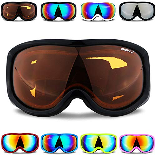 bfbe0a39c06c Peicees OTG Ski Goggles Over Glasses Snowboard Goggles Anti-Fog UV  Protection Snowmobile Skating for Men and Women(Black Frame Amber Lens)