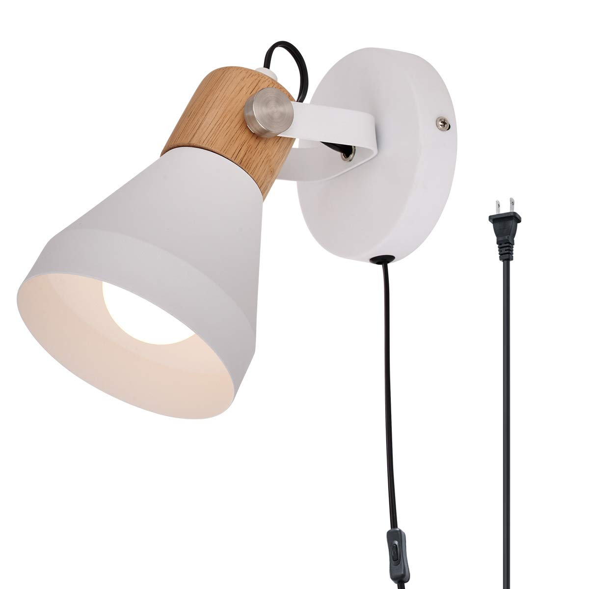 TeHenoo Minimalist Plug-in Wall Sconce Modern White Wall Lamp with Cord Contemporary Rotatable Wall Light Fixture for Bedroom Living Room Bedside Lamp