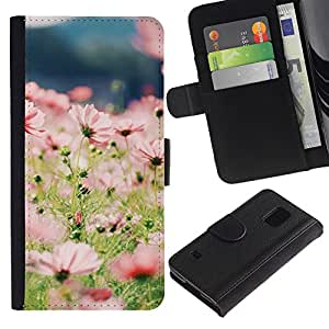 iKiki Tech / Cartera Funda Carcasa - Summer Field Flowers Floral Green Sun - Samsung Galaxy S5 SM-G900