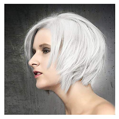 STfantasy Pixie Wig Bob Short Straight Silver White Synthetic Hair for Women Everyday Daily Cosplay Costume Party