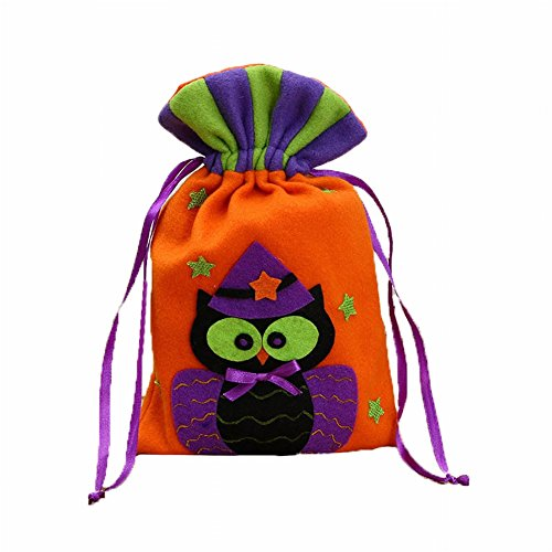 Zeroyoyo Halloween Bag Pumpkin Owl Witch Drawstring Bag Trick-Or-Treat (Owl Halloween Treat Bags)