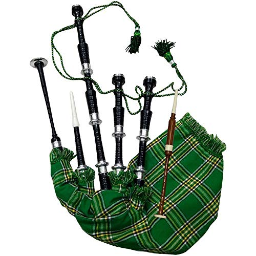 AJW Classic Great Highland Bagpipe Irish National Tartan Rosewood Black Finish Silver Mounts with Tutor Book, Carrying Bag