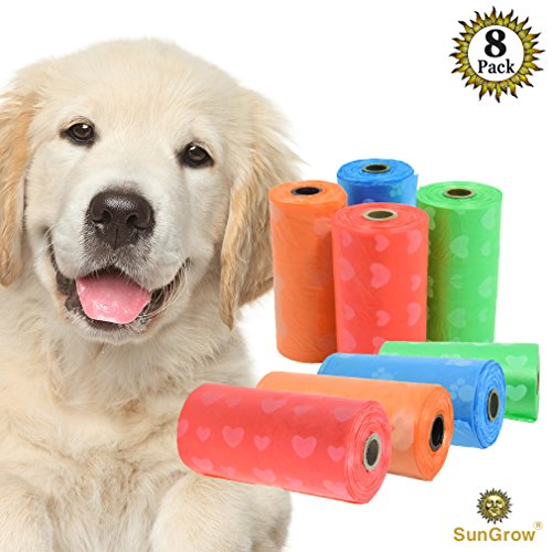 SunGrow Biodegradable Dog Waste Bags - Environment-Friendly - 8 Refill Rolls of 15 UNSCENTED Bags - Good for Sensitive Pets - Multi-Color - Thick and Leak Proof - FITS Standard Leash Dispenser