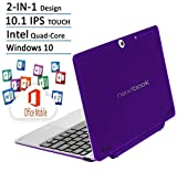 Nextbook Purple Edition Flexx 10.1 Touchscreen 2 IN 1 Tablet Laptop With Keyboard Free Office Moblie (Intel Quad-Core Z3735F Processor, 2G, 32G Storage and 32G MicroSD, IPS, Windows 10)