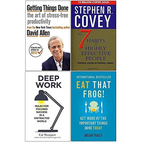 Price comparison product image Getting Things Done,  7 Habits of Highly Effective People,  Deep Work,  Eat That Frog 4 Books Collection Set
