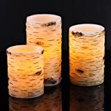 "Bingolife Real Wax Birch Bark Effect Flameless LED Candles 4"" 5"" 6"" with Remote Control & Timer"