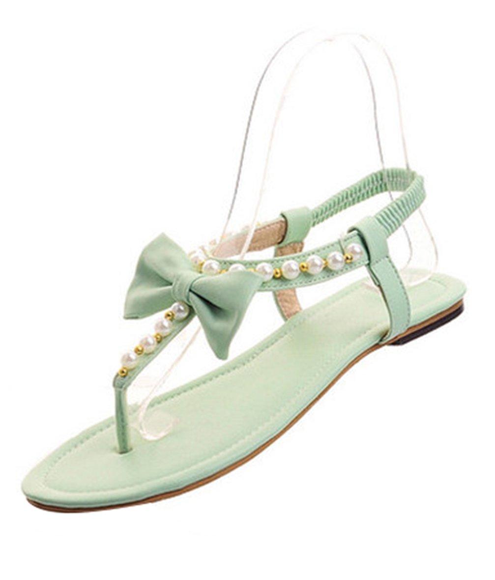 Sandalias Planas Zapatos De Playa Tanga Casual Mujer Verano Dedo Del Pie Abierto Flip Flop Zapatillas De La Correa Del Tobillo,Green,35 35|Green