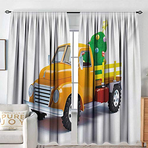 Print Pattern Curtains Christmas,Yellow Vintage Truck and Tree Design with Star Topper Old Farm Vehicle,White Yellow Green,for Room Darkening Panels for Living Room, Bedroom 120