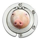 Pig Piggy Face Foldable Table Bag Purse Caddy Handbag Hanger Holder Hook with Folding Compact Mirror